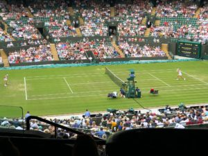Wozniacki på Wimbledons Court 1